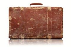 Vieille valise de vintage d'isolement sur le blanc Images libres de droits