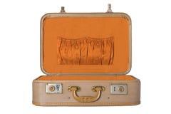 Vieille valise de vintage sur un fond blanc d'isolement Tra de concept images stock