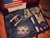 Vieille valise de voyage image stock