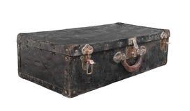 Vieille valise noire en métal d'isolement Image stock