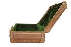 Vieille valise ouverte d'isolement Image libre de droits
