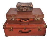Vieille valise trois Photo libre de droits
