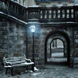 Vieille ville avec la première neige Image libre de droits