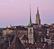 Vieille ville de Berne au lever de soleil images libres de droits