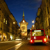 Vieille ville de Berne la nuit 02, Suisse Image stock