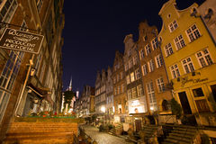 Vieille ville de Danzig la nuit, Pologne Photos stock