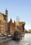 2016-07-20, vieille ville de Danzig, Pologne, belle soirée, vue à la vieille ville, vieux fond de ville de Danzig, bateau classiq Image libre de droits