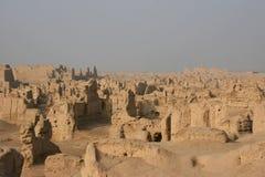 Vieille ville de Jiaohe sur la route en soie Images stock