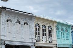 Vieille ville de Phuket : Bâtiments Sino-portugais d'architecture Ce style architectural est Européen mélangé à moderne chinois,  images libres de droits