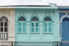 Vieille ville de Phuket : Bâtiments Sino-portugais d'architecture Ce style architectural est Européen mélangé à moderne chinois,  image libre de droits