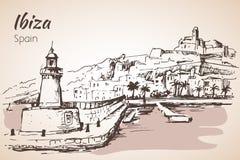 Vieille ville de ville d'Ibiza, Îles Baléares, Espagne, l'Europe Photos libres de droits