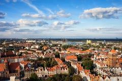 Vieille ville de vue aérienne de ville de Danzig Image libre de droits