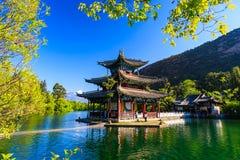 Vieille ville Dragon Pool Park scène-noir de Lijiang image libre de droits