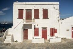 Vieille ville Grèce de Mykonos de maison de bord de mer Photo stock