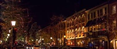 Vieille ville l'Alexandrie la nuit Image libre de droits