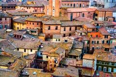 Vieille ville Sienne de centre de vue aérienne en Toscane Photos stock