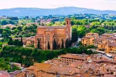 Vieille ville Sienne de centre de vue aérienne en Toscane Photographie stock
