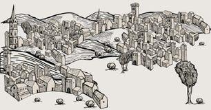 Vieille ville tirée par la main Images libres de droits