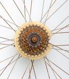 Vieille vitesse de bicyclette, roue dentée rouillée en métal Images stock