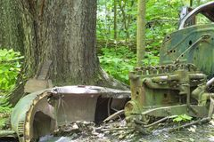 Vieille voiture abandonnée dans la forêt image libre de droits