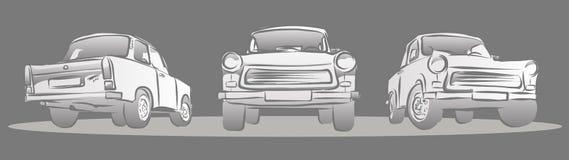 Vieille voiture Allemand de l'Est, trois vues Images libres de droits