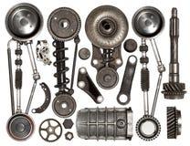 Vieille voiture automatique de pièces de rechange sur le fond blanc Photo stock