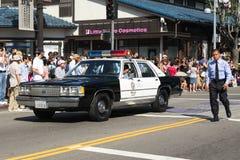 Vieille voiture de police au défilé grand de 73th semaine annuelle de Nisei Image libre de droits