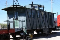 Vieille voiture en bois de cambuse de chemin de fer photographie stock