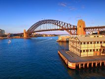 Vieille vue aérienne de Sydney Pier et de quai Photographie stock