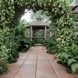 Vieille vue d'alcôve avec le jardin tropical après fond de photo de concept de pluie photos libres de droits