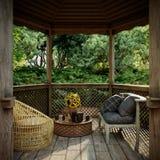 Vieille vue d'alcôve avec le jardin tropical après fond de photo de concept de pluie photos stock