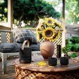 Vieille vue d'alcôve avec le jardin tropical après fond de photo de concept de pluie image libre de droits