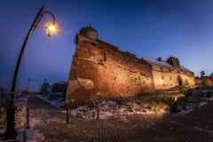 Vieille vue d'angle de château Photo stock
