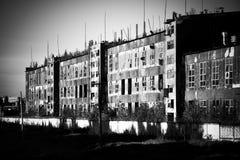 Vieille vue de point de vue ruineuse d'usine Photo stock