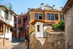 Vieille vue de rue de ville à Plovdiv Photo stock