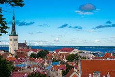 Vieille vue de ville de Tallinn Photographie stock