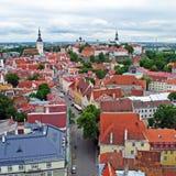 Vieille vue de ville de Tallinn Photographie stock libre de droits