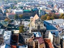 Vieille vue de ville, Lviv Photographie stock