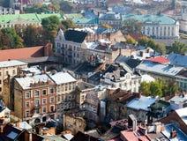 Vieille vue de ville, Lviv Photos libres de droits