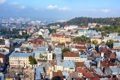 Vieille vue de ville, Lviv Photographie stock libre de droits