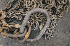 Vieille vue rouillée de chaînes à partir du dessus Photos libres de droits