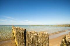 Vieilles aines en mer baltique avec le ciel bleu Photos stock