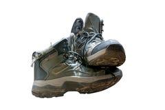 Vieilles bottes de hausse portées d'isolement sur le fond blanc Photographie stock libre de droits