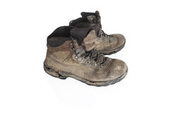 Vieilles bottes trecking battues Images stock