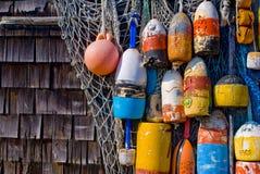 Vieilles bouées de langoustine Images stock