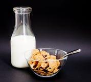 Vieilles bouteille et céréale à lait Images libres de droits