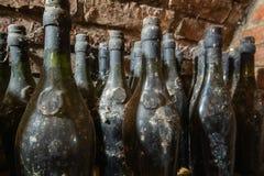 Vieilles bouteilles de vin dans la cave image libre de droits