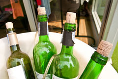 Vieilles bouteilles de vin dans le plateau Photo libre de droits