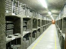Vieilles bouteilles de vin dans les rangées dans la cave Rangées de beaucoup de bouteilles de vin dans le stockage de cave d'étab Images stock