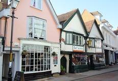 Vieilles boutiques de ville de Faversham Image libre de droits